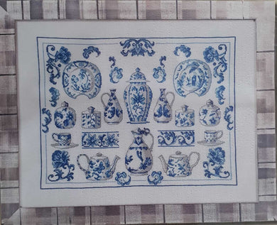 Blue and White China Cross Stitch Kit (on 100% Linen) by Permin of Copenhagen