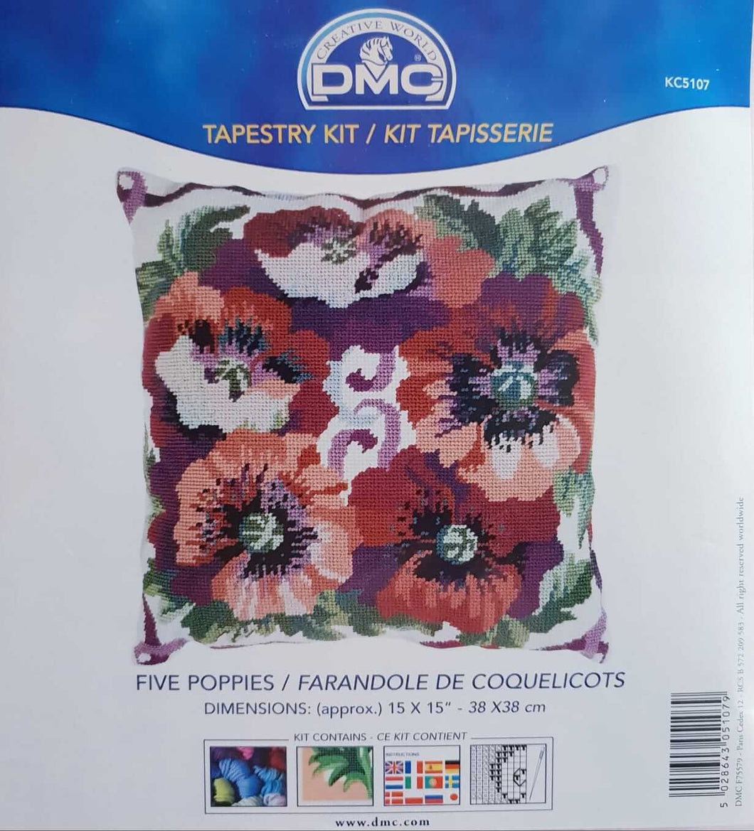 Five Poppies Tapestry Kit by DMC