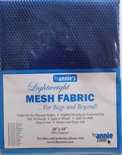 "Load image into Gallery viewer, Lightweight Mesh Fabric 18"" x 54"" - Blast-off Blue"