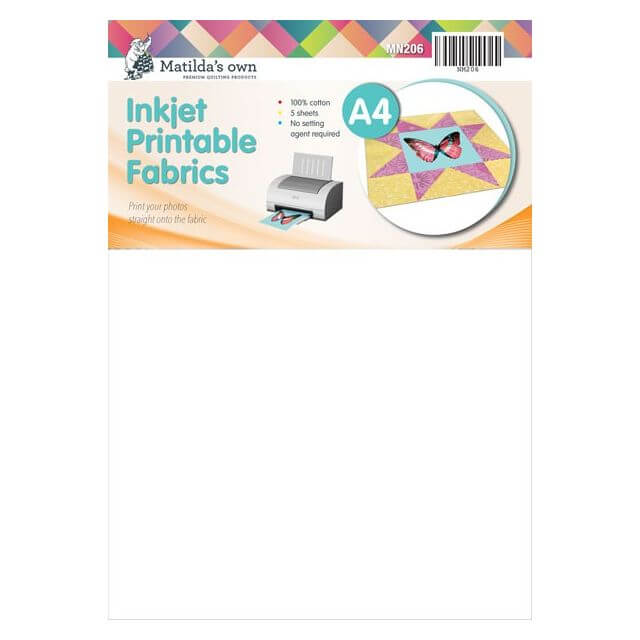 Matilda's Own Inkjet Printable Fabric Sheets A4 Size -5 Sheets per pack