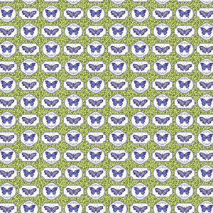 Northcott Botanical Blues Assorted Butterflies Green 20460-71