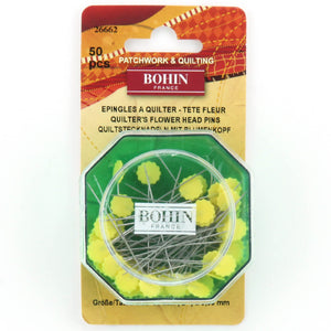 Bohin Flower Head Pins 2In (50 Pins) Yellow QB26662