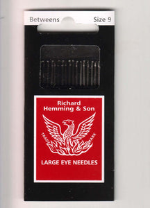 Richard Hemming & Son Large Eye Needles, Milliners Needles - Size 9