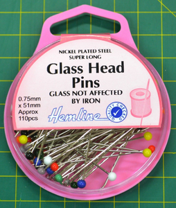 Hemline Glass Head Pins 51mm x 0.75mm