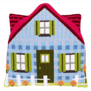Blue House (cushion with backing and zipper)