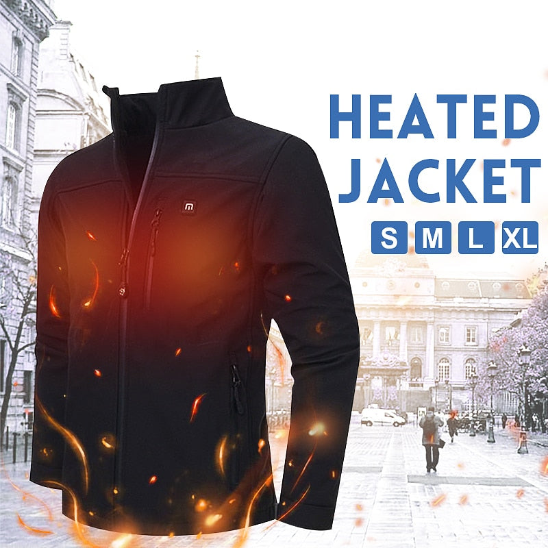 Smart Self Heating Men's Rechargeable Motorcycle Jacket (120-Day Money Back Guarantee)