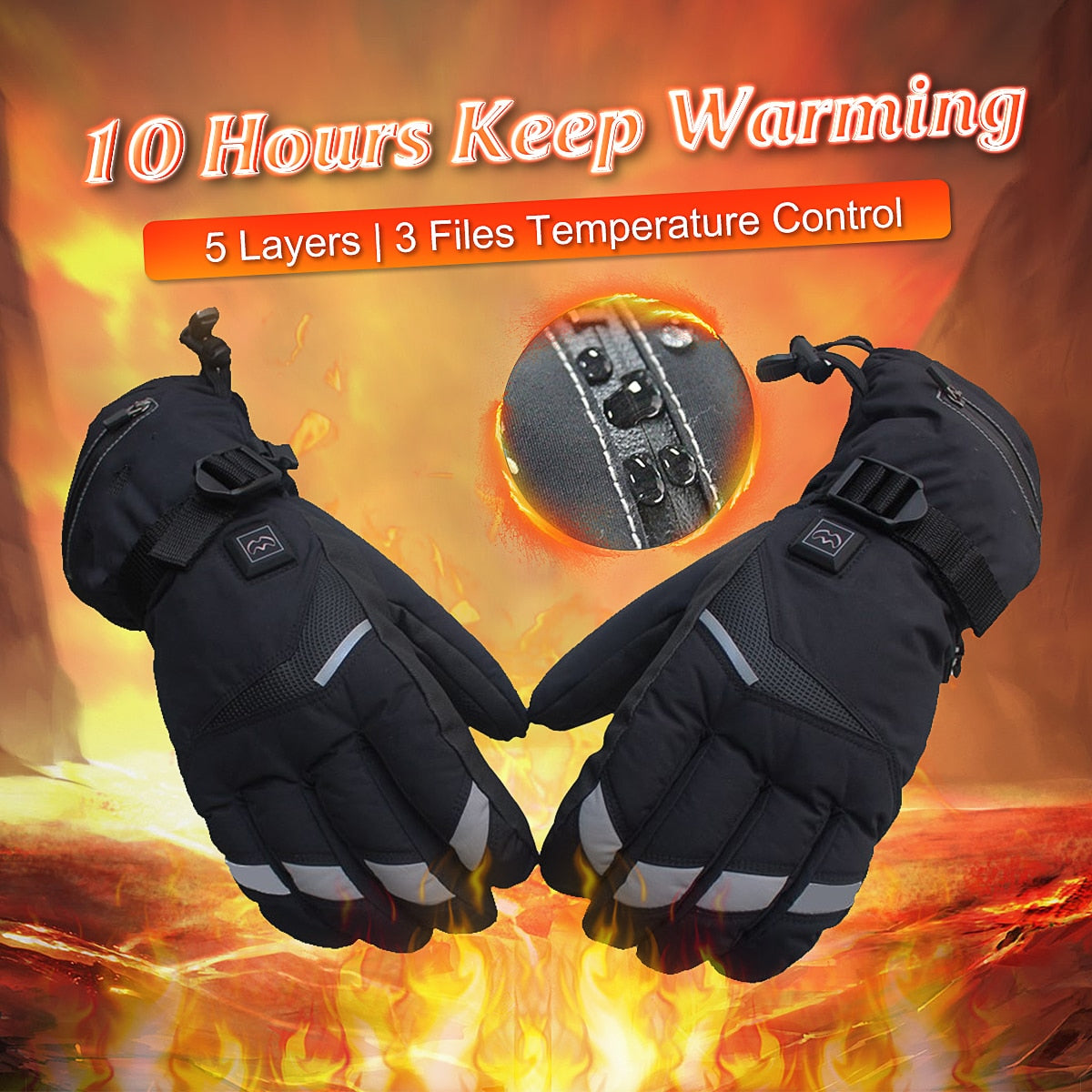 Smart Five Speed Temperature Control Electric Battery Heated Gloves (120-Day Money Back Guarantee)