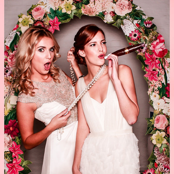 Large Floral Frame Photo Booth in Pink