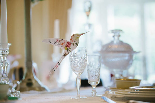 Floral Affair Hummingbird Wine Glass Place Cards or Escort cards, personalised