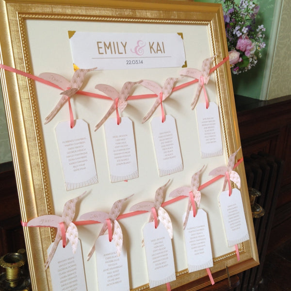 DECOdence Hummingbird Table Plan, 5 colour options