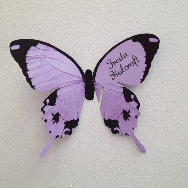 Sample - Butterfly Wine Glass Place Card in Lilac
