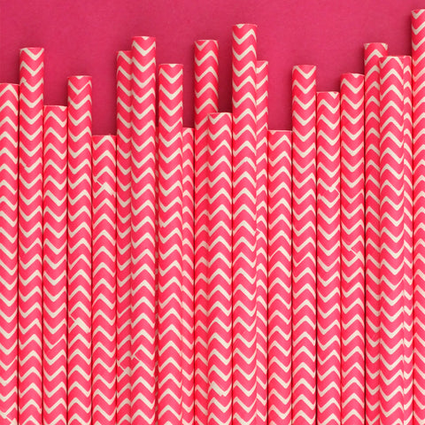 "Chevron Straws<BR>Raspberry<BR><font color=""#ae9a64"">Pack of 25"