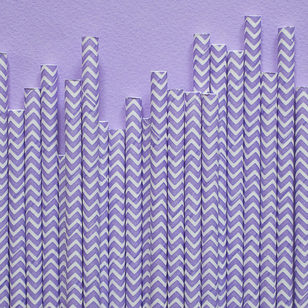 "Chevron Straws<BR>Lilac<BR><font color=""#ae9a64"">Pack of 25"