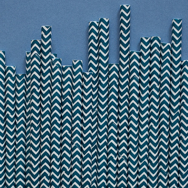 "Chevron Straws<BR>Navy<BR><font color=""#ae9a64"">Pack of 25"