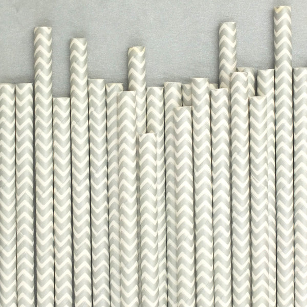 "Chevron Straws<BR>Metallic Silver<BR><font color=""#ae9a64"">Pack of 25"