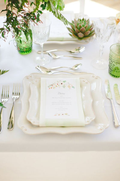 Floral Affair Classic Menu, 5 colour options