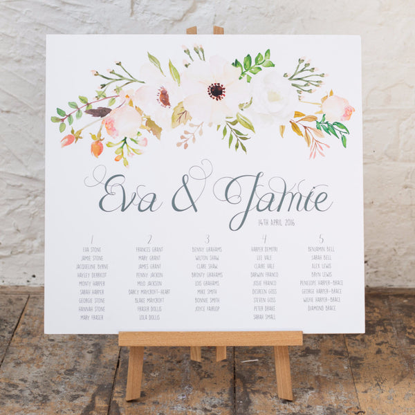 Floral Affair Classic Table Plan, 5 colour options