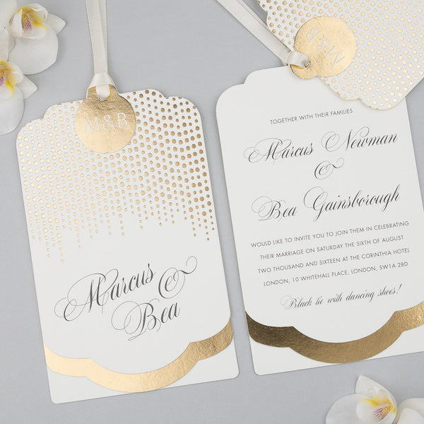 Sample - Corinthia Luxe Invitation in Gold foil on Ivory