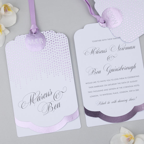 Corinthia Luxe Invitation suite in Lilac foil on White