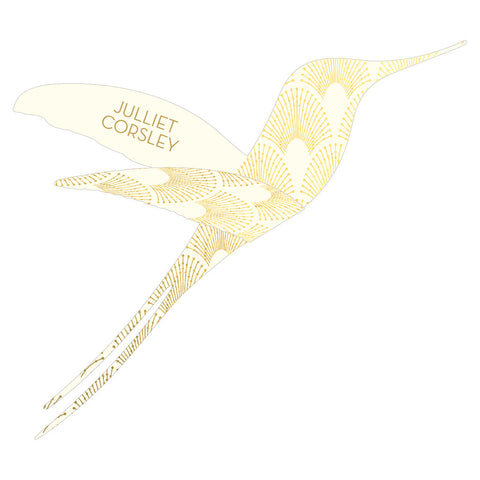 Sample - DECOdence Foil Hummingbird Place Card in Gold/Ivory