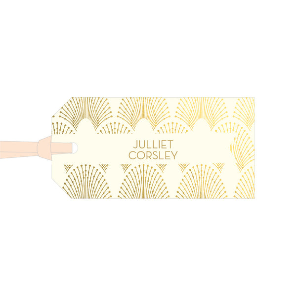 Sample - DECOdence Foil Luggage Tag Place Card in Gold foil on Ivory