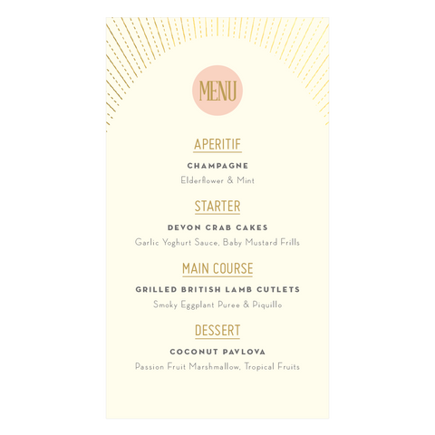 DECOdence Foil Classic Menu in Gold, Rose Gold or Silver