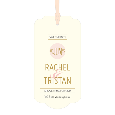 DECOdence Foil Large Luxe Save the Date Tag in Gold, Rose Gold & Silver