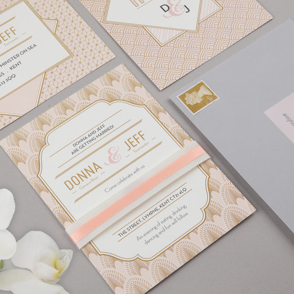 DECOdence Invitation suite in Blush