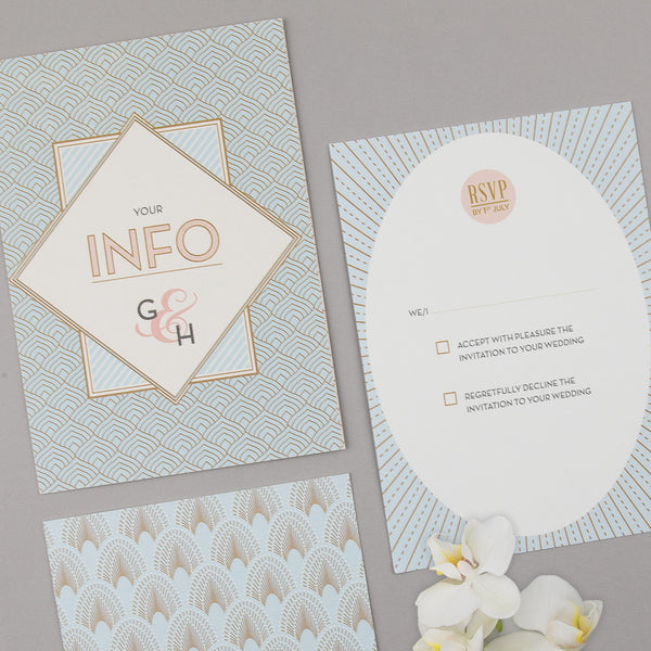 Free Sample - DECOdence Invitation in Pale Blue