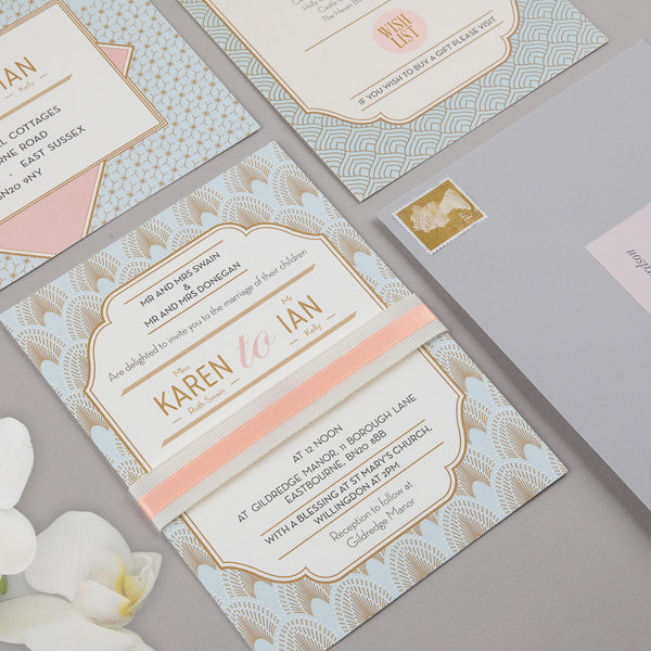 DECOdence Invitation suite in Pale Blue