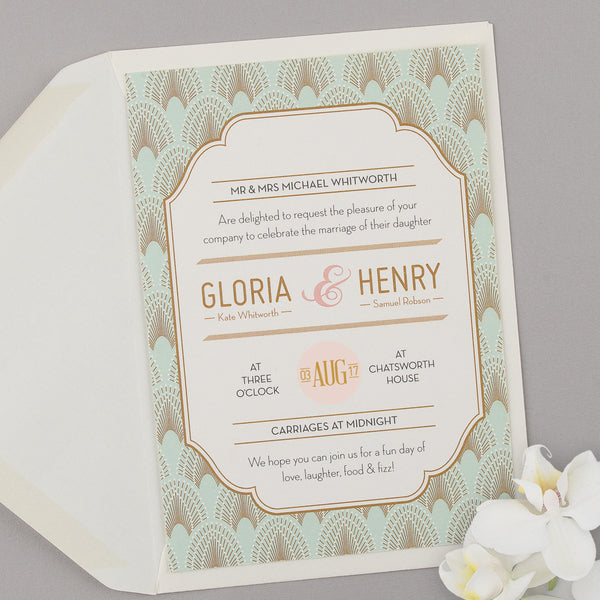 DECOdence Invitation suite in Powder Palette