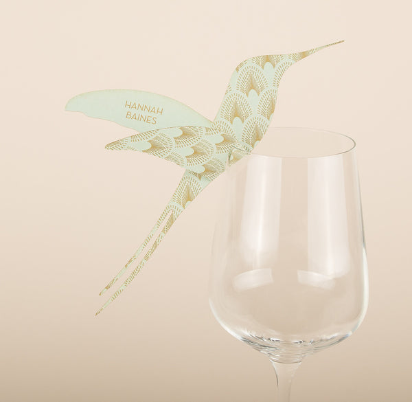Aqua Hummingbird Wine Glass Place Card