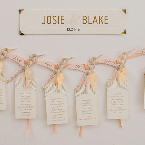 DECOdence Foil Hummingbird Table Plan in Gold, Rose Gold & Silver