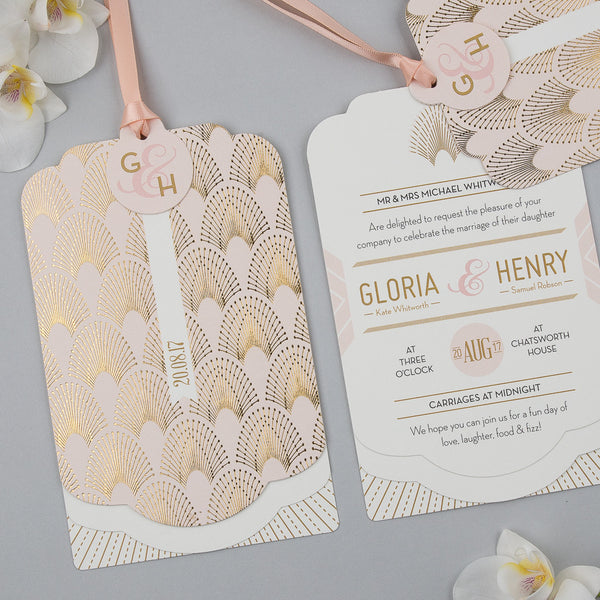 Free sample - DECOdence Foil Luxe Invitation in Gold foil on Blush
