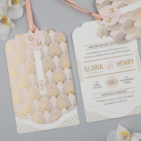 DECOdence Foil Luxe Invitation suite in Gold foil on Blush