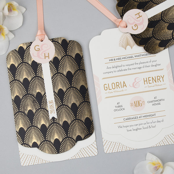 DECOdence Foil Luxe Wedding Invitation suite in Gold foil on Black