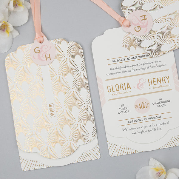 DECOdence Foil Luxe Wedding Invitation suite in Gold foil on Ivory