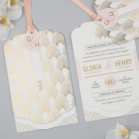 DECOdence Foil Luxe Invitation suite in Gold foil on Ivory
