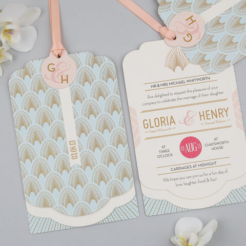 DECOdence Luxe Invitation suite in Pale Blue