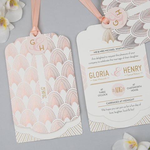 DECOdence Foil Luxe Wedding Invitation suite in Rose Gold foil on Ivory
