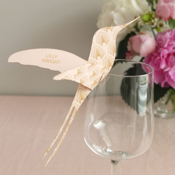 DECOdence Hummingbird Wine Glass Place Card or Escort Card, personalised