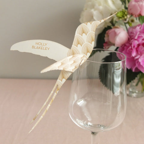 Sample - DECOdence Wine Glass Place Card in Ivory