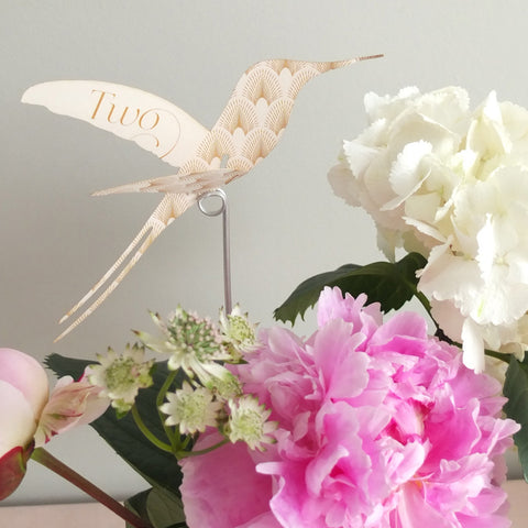 Pack of DECOdence Hummingbird Table Numbers in Ivory