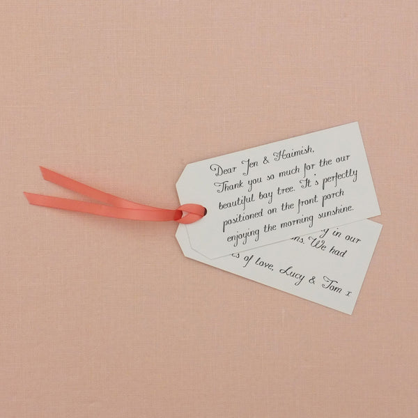 Reverse of tags - blank for you to hand write your message