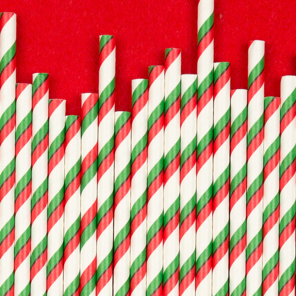 "Double Stripe Straws<BR>Green & Red<BR><font color=""#ae9a64"">Pack of 25"