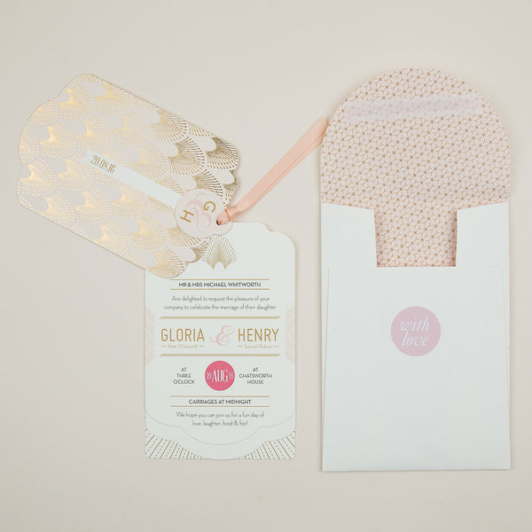 DECOdence Foil Luxe Wedding Invitation suite in Gold foil on Blush