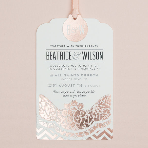 Sample - Modern Metallics Luxe Invitation in Rose Gold foil on Ivory