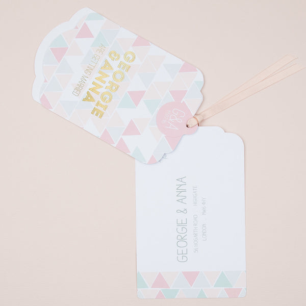 Geometric Mosaic Luxe Invitation in Sorbet