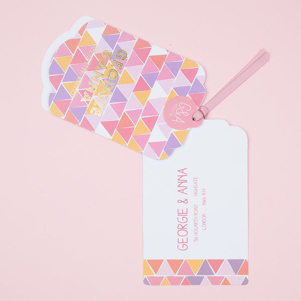 Geometric Mosaic Luxe Invitation in Strawberry Ice