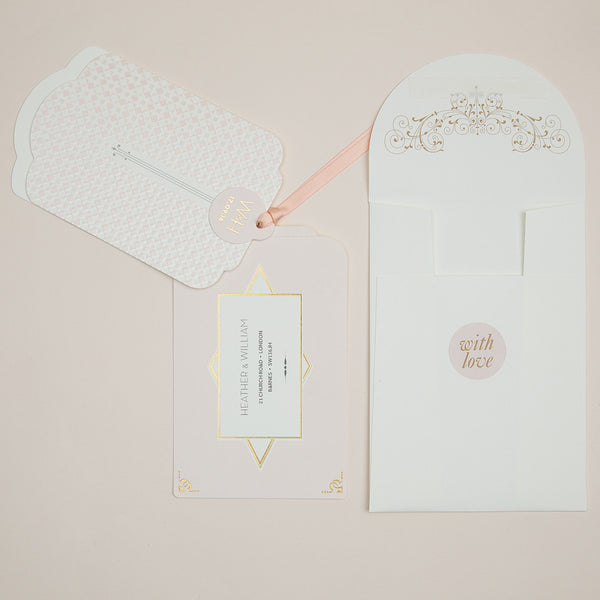 Sample - Geo Star Luxe Invitation in Nude foil on Ivory